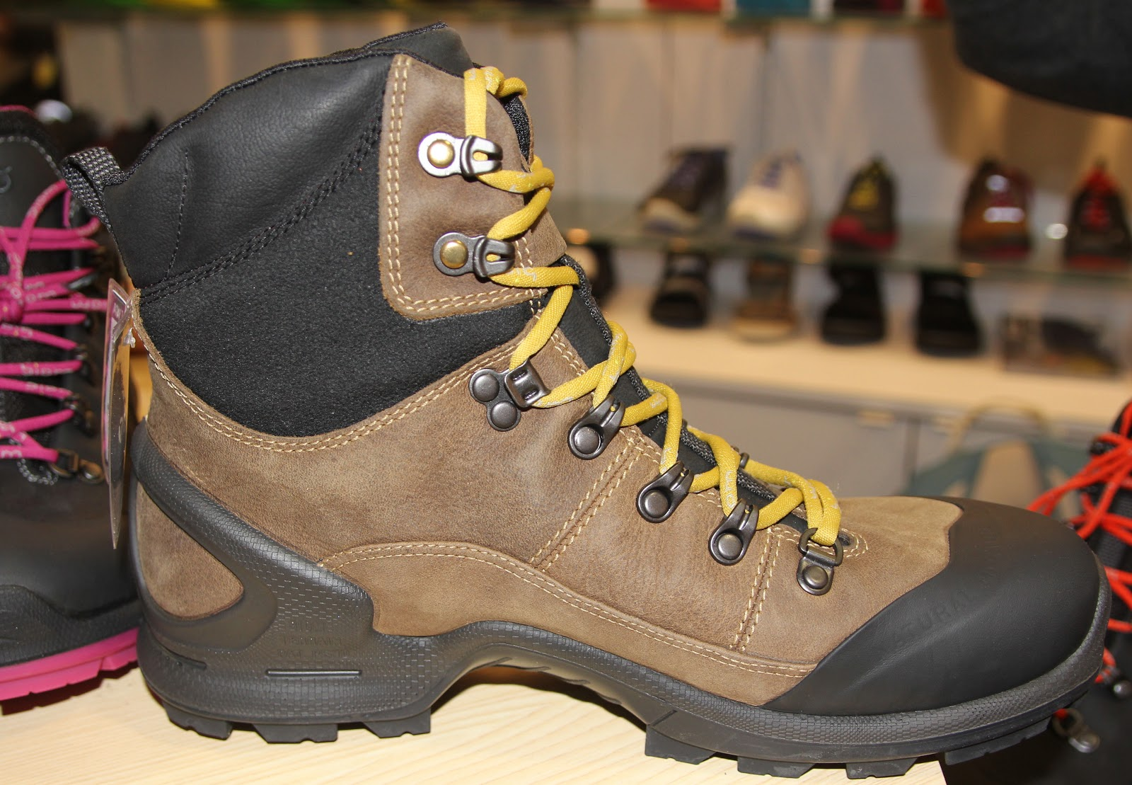... tough toe cap, direct injection two component PU /rubber sole,  extremely durable and functional uppers, performance hiking high-cut boot  $250