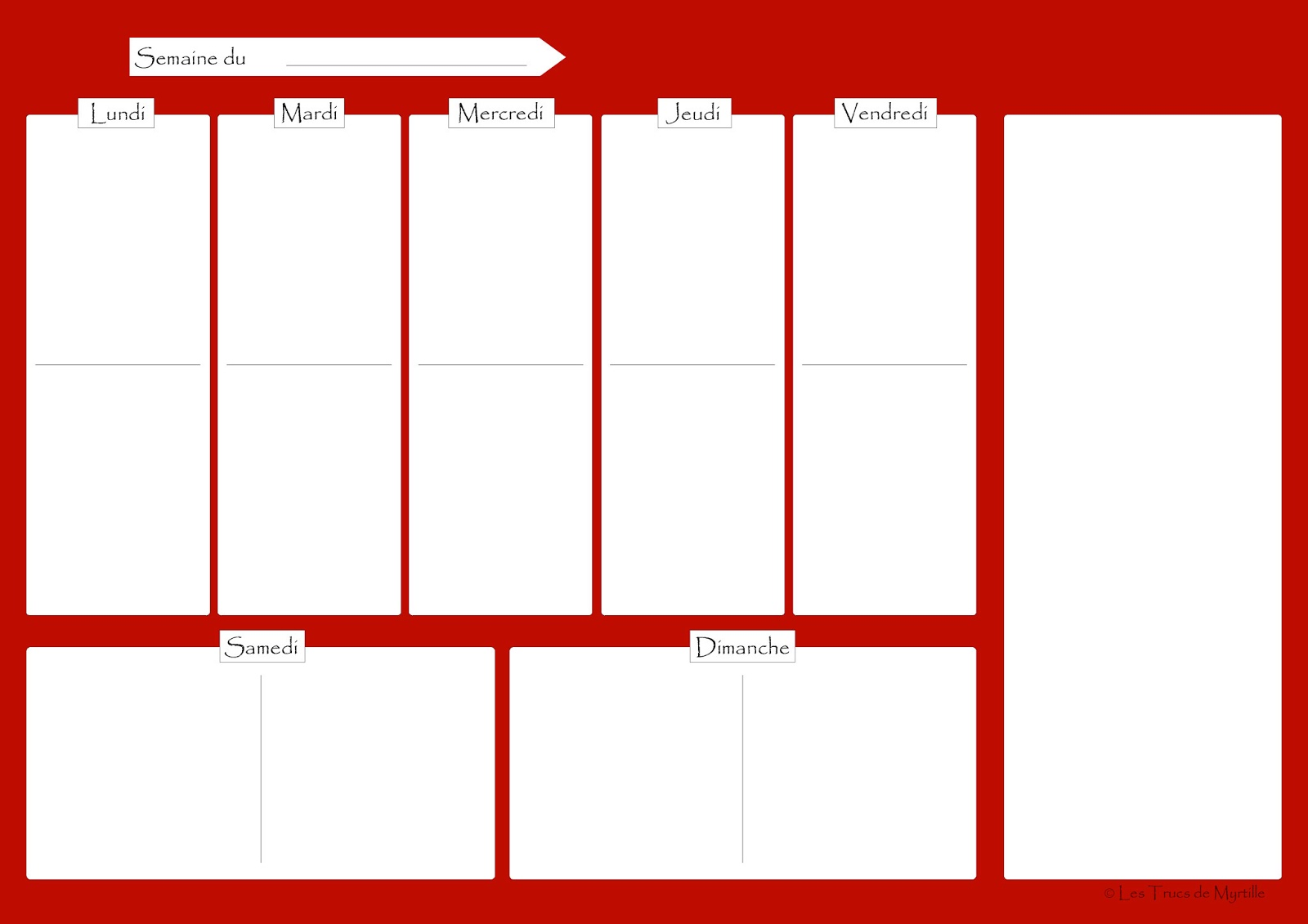 Connu La Cuisine de Myrtille: Planifier ses menus (plannings vierges à  HG16
