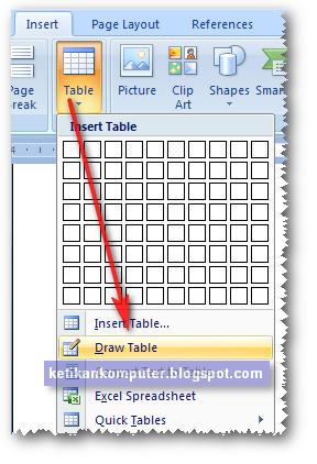 Cara lain membuat tabel dengan Draw table