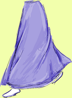 drawing of walking in full length skirt