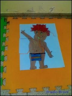 quebra cabeça para educação infantil com figura do curupira