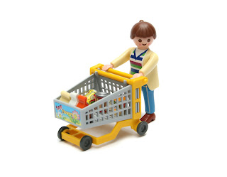 Lego man with shopping trolly