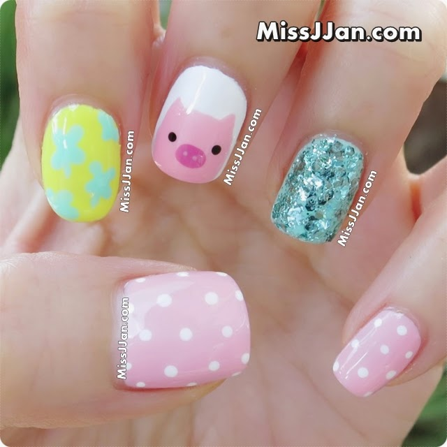Pig Nail Art: MissJJan's Beauty Blog ♥: {Tutorial} Cute Piggy Nail Art