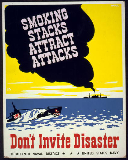 navy, united states, war, military, vintage, vintage posters, retro prints, classic posters, graphic design, free download, Smoking Stacks Attract Attacks, Don't Invite Disaster - Vintage War Military Poster