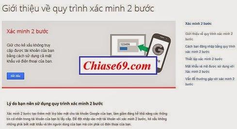 đăng ký bảo mật 2 lớp cho gmail