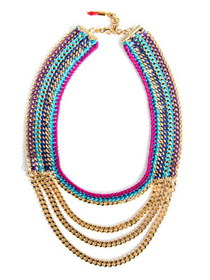 Bright coloured and gold multi-chain necklace