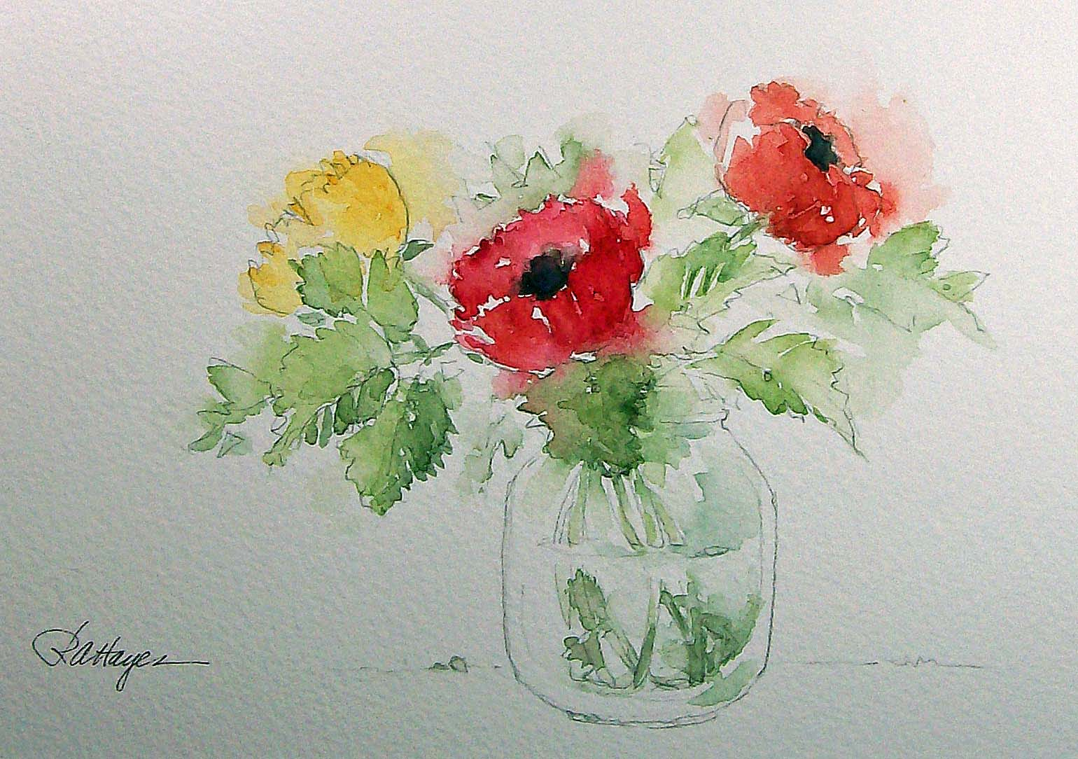 Watercolor paintings by roseann hayes flowers in baby for How to watercolor for beginners