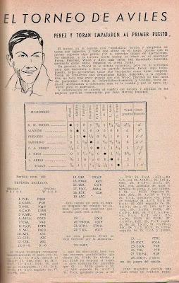 II Torneo Internacional de Ajedrez de Avilés 1948 en la revista Ajedrez Español