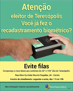 TRE/RJ sobre o recadastramento eleitoral em Teresópolis RJ devido à implantação do sistema de biometria