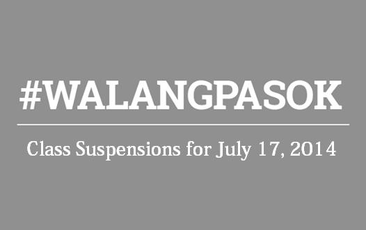Class Suspensions for July 17, 2014 #WalangPasok effects of Typhoon Glenda