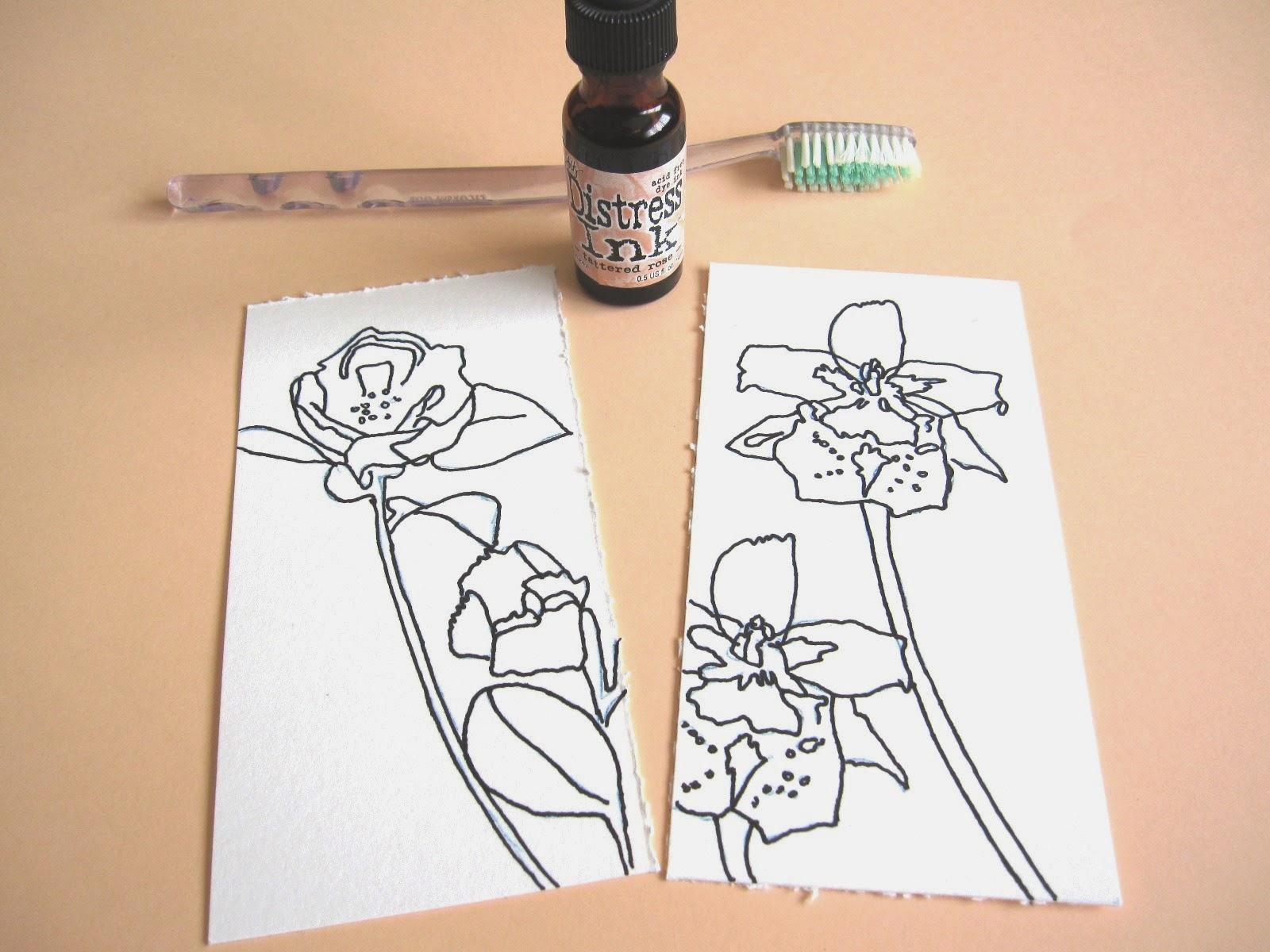 """segundo paso tag abril:  cómo """"pulverizar"""" tinta sin tener distress markers ni distress marker spritzer"""