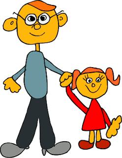 dibujo infantil de papa e hija coloreado
