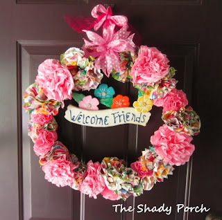 Spring Wreath - Paper Napkin Flowers