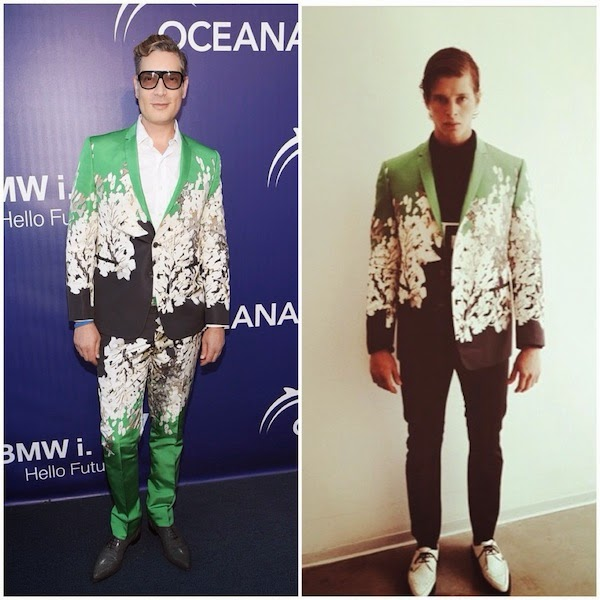 Cameron Silver wears Anthony Franco Spring Summer 2015 green black suit to Oceana Annual SeaChange Summer Party