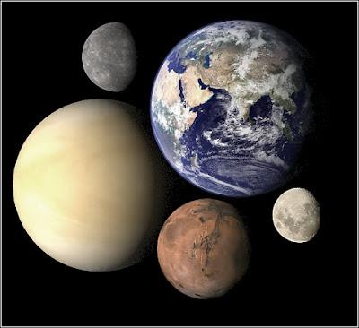 tierra, mercurio, venus, luna, juntos en fotografia