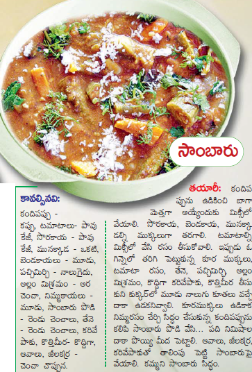 Healthy food recipes sambar recipe in telugu sambar recipe in telugu forumfinder Choice Image
