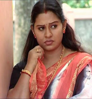 Serial Actress Beena Antony Hot Cleavage Show In Red Blouse