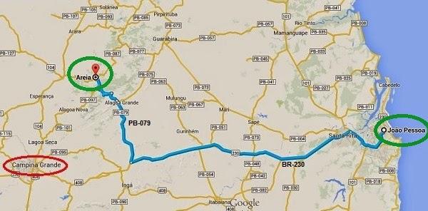 Mapa do trajeto de João Pessoa à cidade de Areia