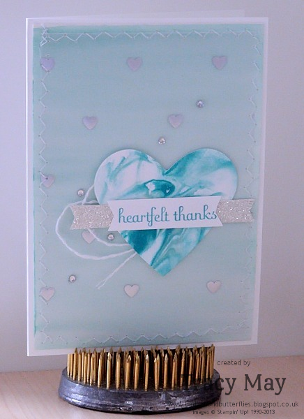 Stampin up #weloveDS heartfelt thanks fabulous phrases full hear punch Tracy May card making ideas