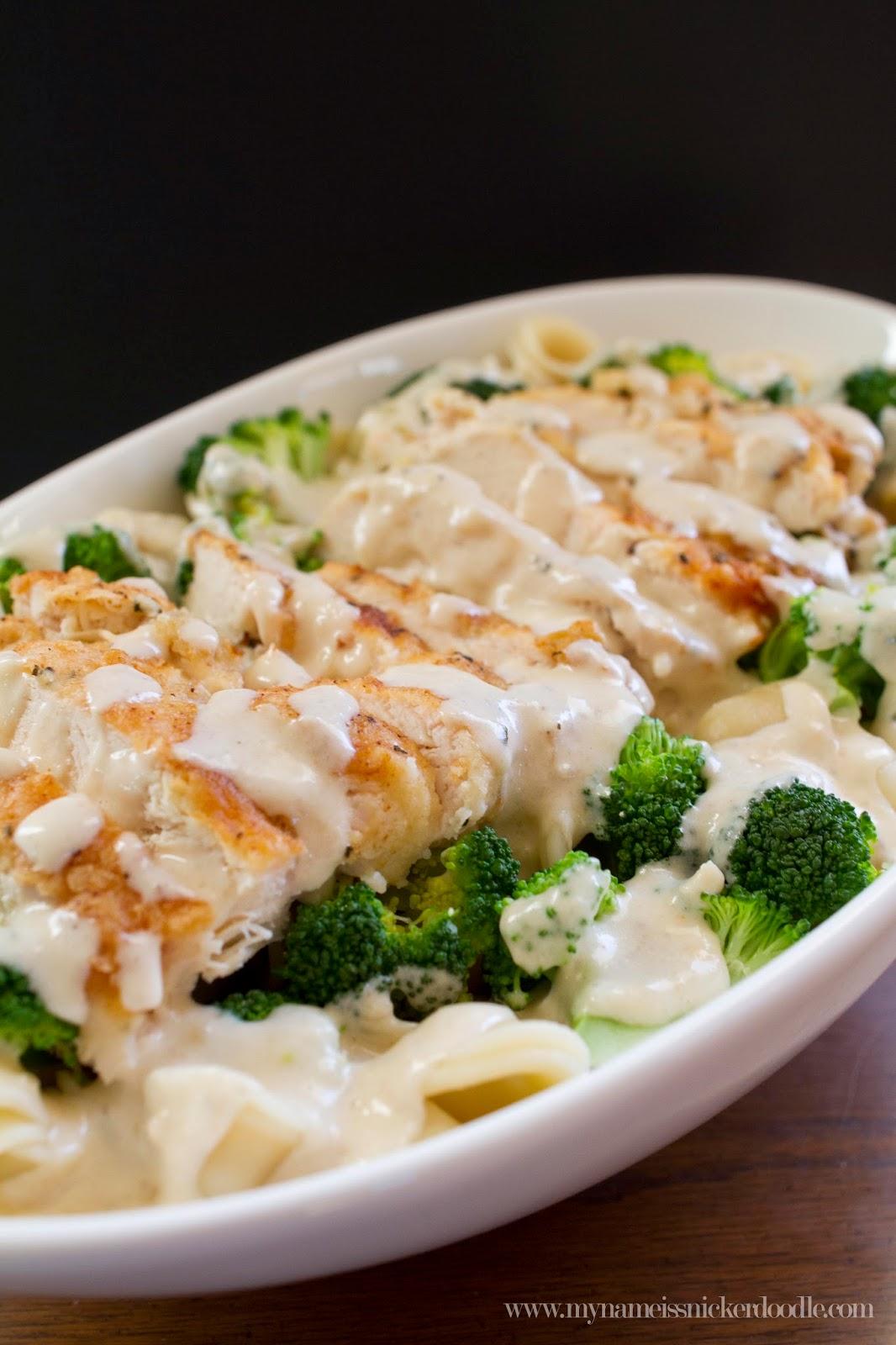 This Creamy Garlic Chicken and Broccoli Pasta recipe rivals the Chicken Con Broccoli dish at Olive Garden!  |  mynameissnickerdoodle.com