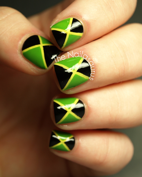 I started with one coat of Barry M White and then 2 coats of NYC Lexington  Yellow before adding one top coat of Seche Vite to make it dry ready for…  ... - 31DC2012 Day 28: Inspired By A Flag... Jamaica - The Nailasaurus