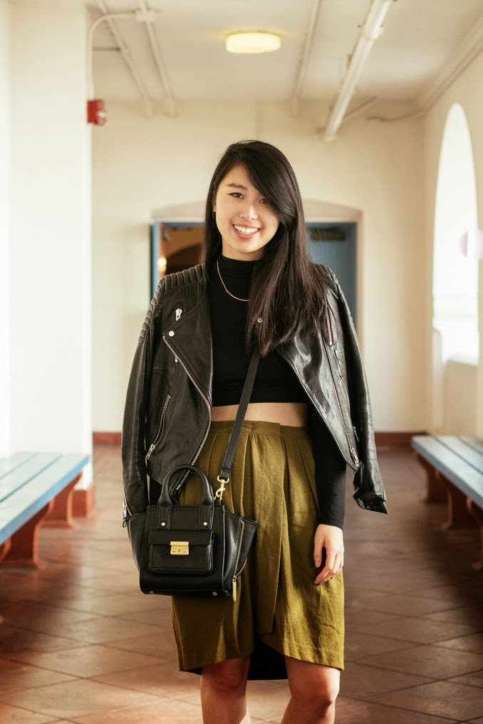 readytwowear, vintage pleated skirt, cropped turtleneck, leather moto jacket, phillip lim for target, sf fashion blogger, bay area fashion