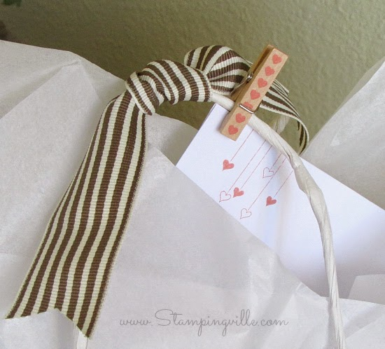 Cute idea! Pin the card to the gift bag using a mini-clothespin | Stampingville #papercrafts #babyshower #StampinUp