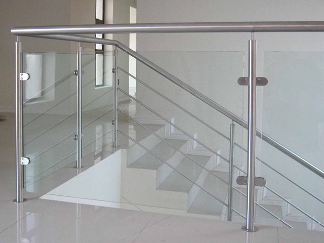 Stainless steel and glass balustrade for Ss glass railing images