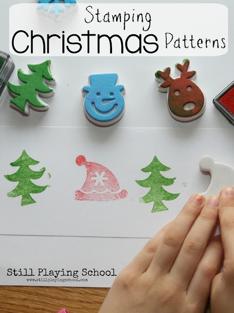 Create a Christmas stamping center activity for kids!