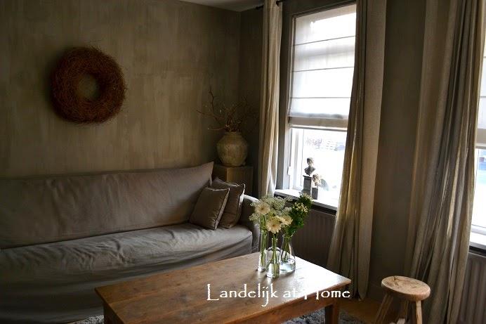 Landelijk muurverf woonkamer for Woonkamer verven