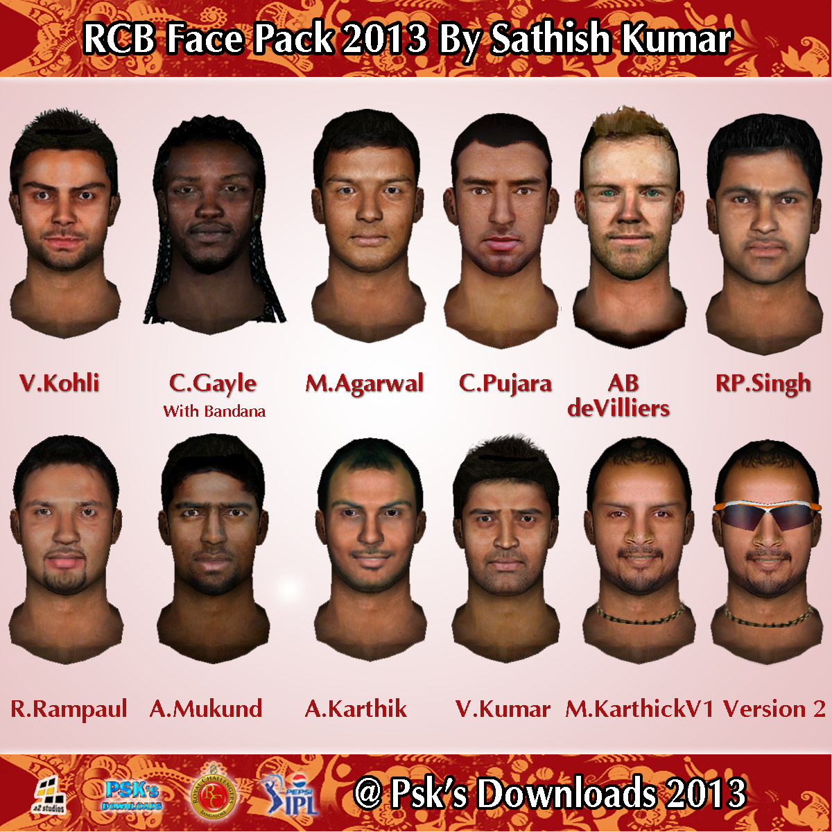 Ntr Ipl Add Download: Royal Challengers Bangalore Face Pack