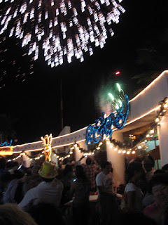 Fireworks over the Plaza on New Year's Eve in Isla Mujeres
