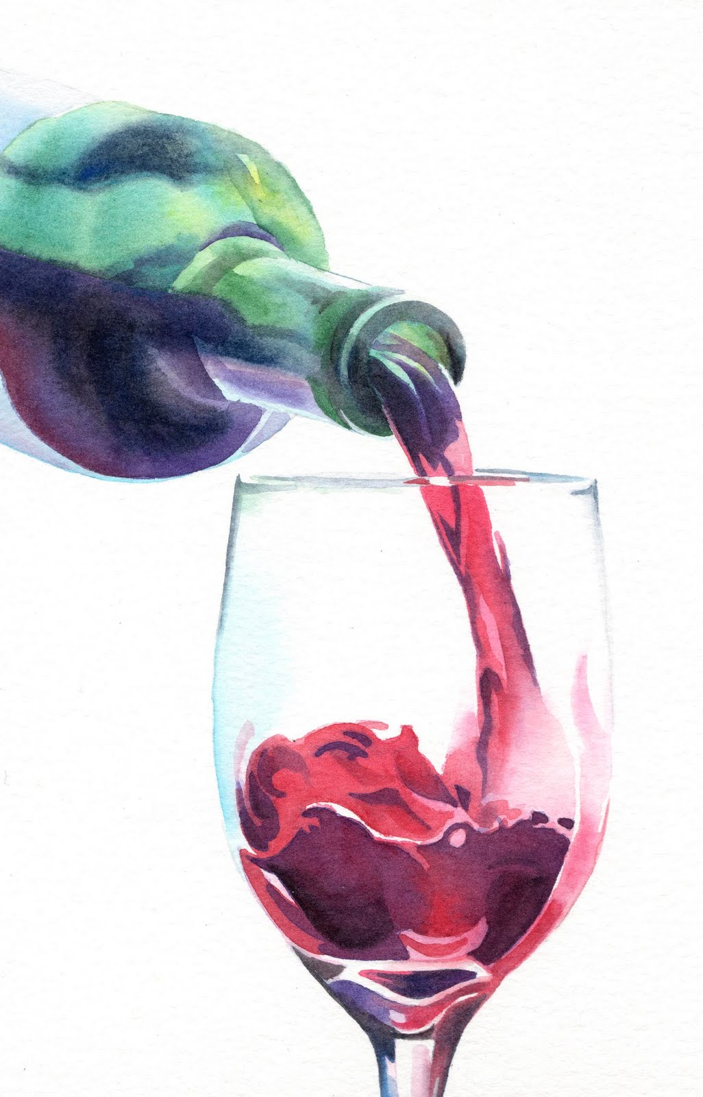 Fine watercolor art for sale - Red Wine Art
