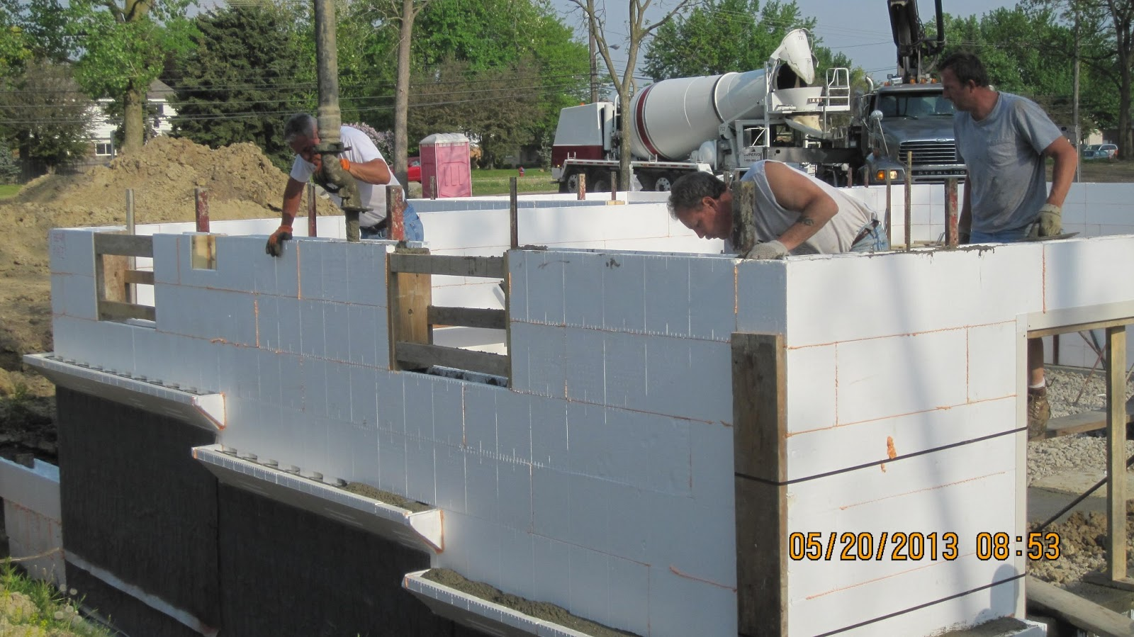 Energy efficient building network pouring concrete in icf for Pouring a basement