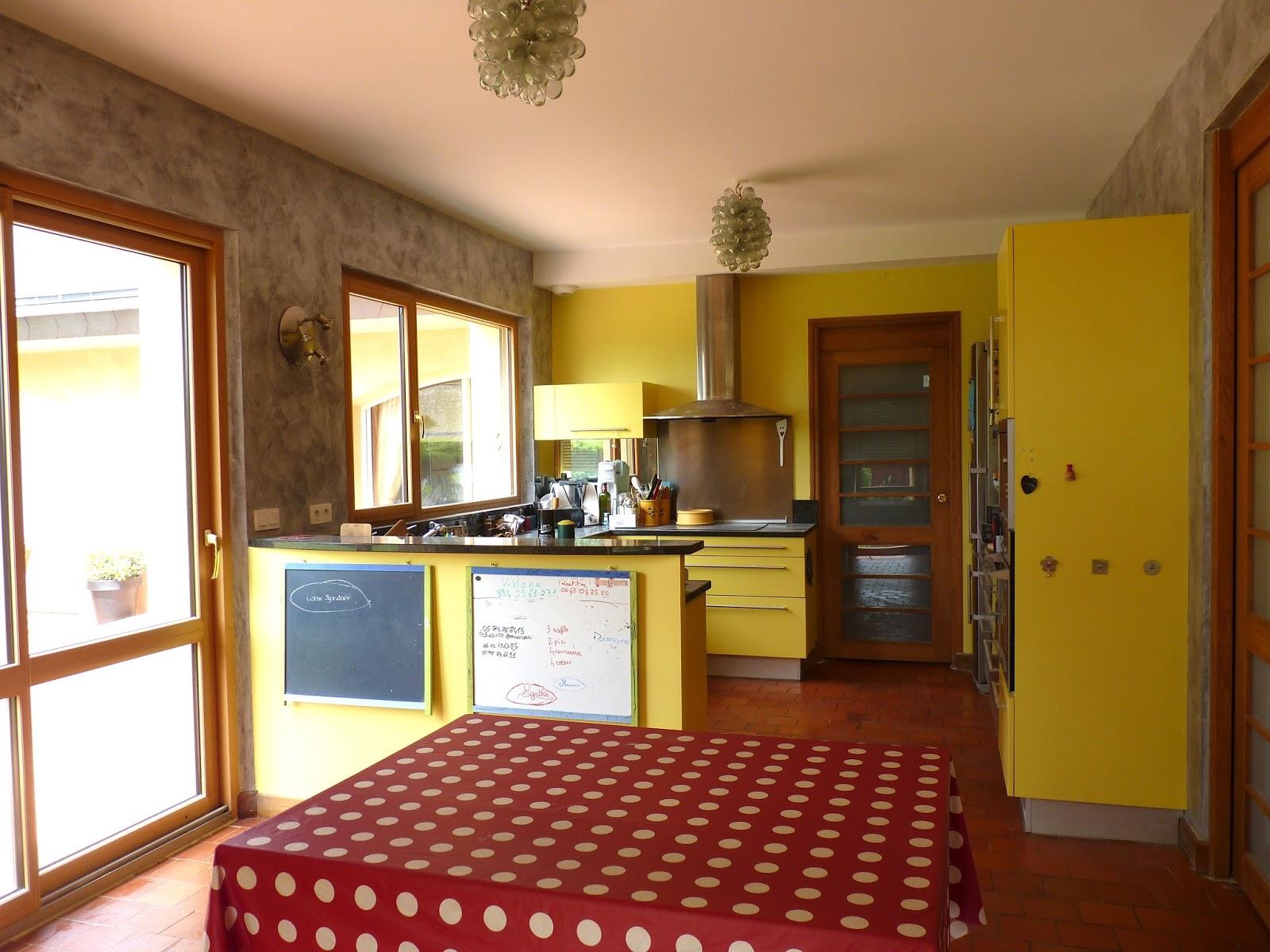 Cuisine peinte en jaune for Peindre ses meubles de cuisine