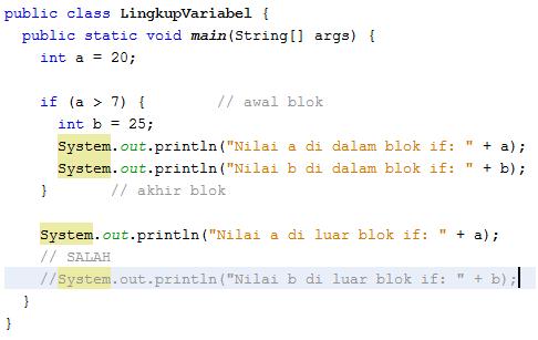 Lingkup dan Daur Hidup Variabel (Java)