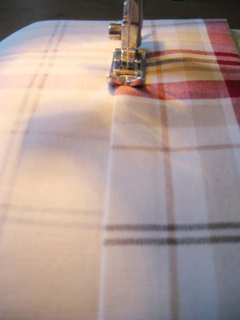 sewing machine. plaid fabric