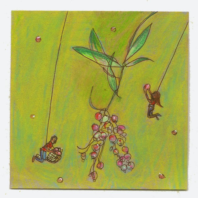 "shiho nakaza ""post-it art"" nature pencil marker pen illustration"
