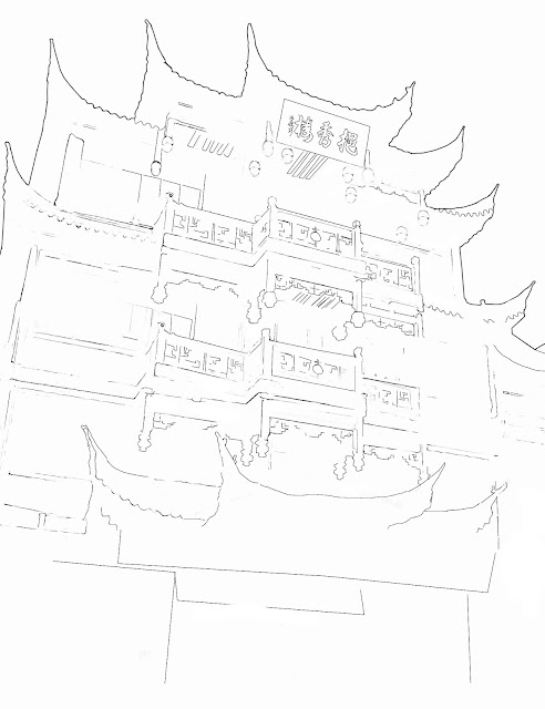 line drawing of chinese architecture