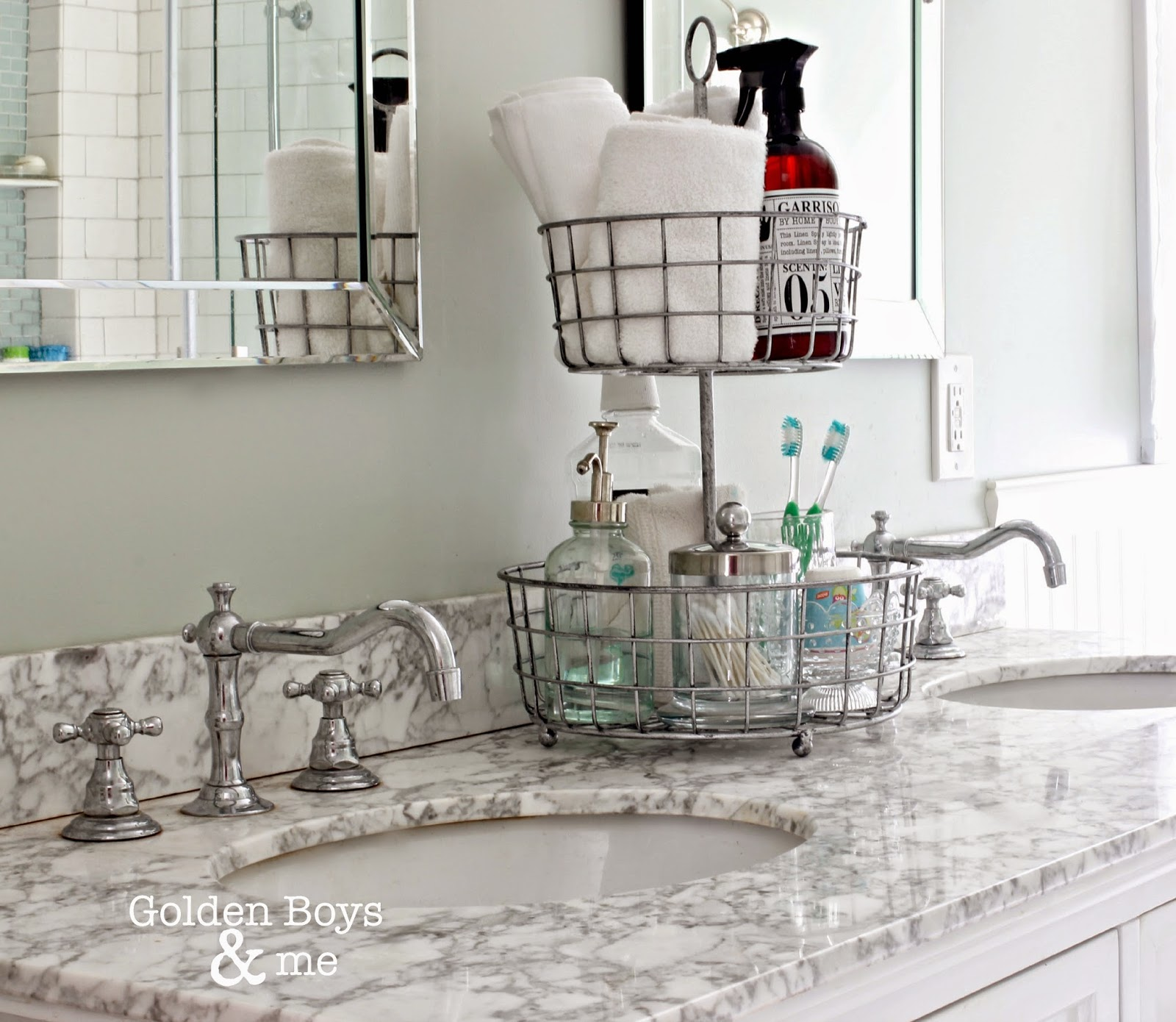 Tiered wire basket stand for bathroom organization-www.goldenboysandme.com