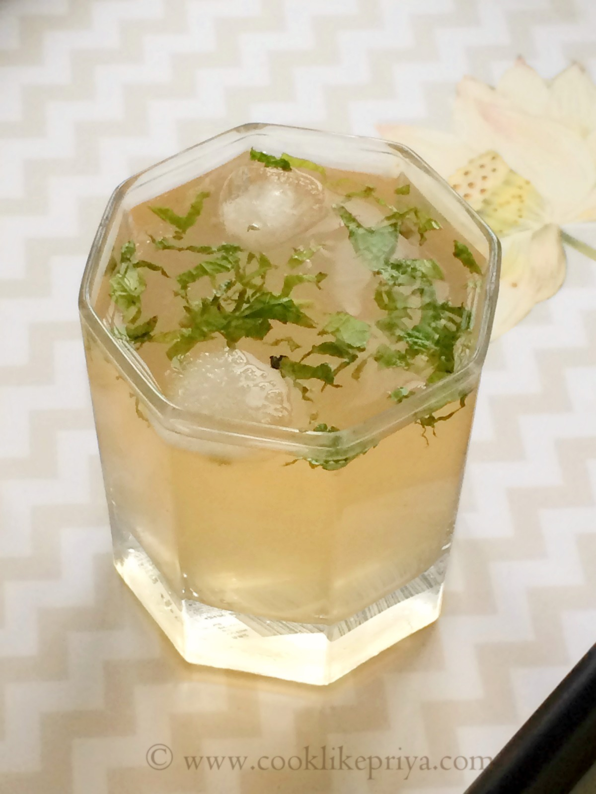 with ice cubes enjoy this refreshing iced lychee green tea