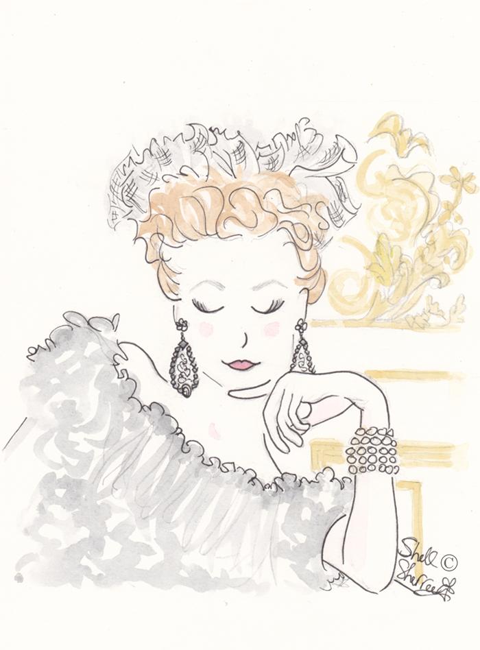 illustration, Shell Sherree, fashion illustration, vintage glam