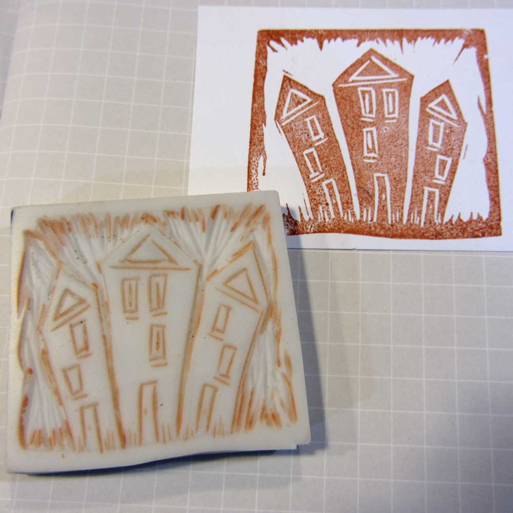 Ro bruhn art earrings and hand carved stamps