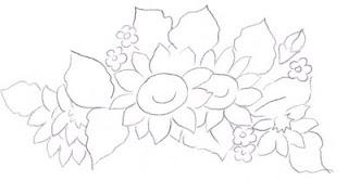 pintura em tecido flores girassol  risco para pintar