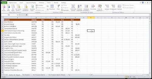 Como transpor dados ( ) em tabelas do Excel
