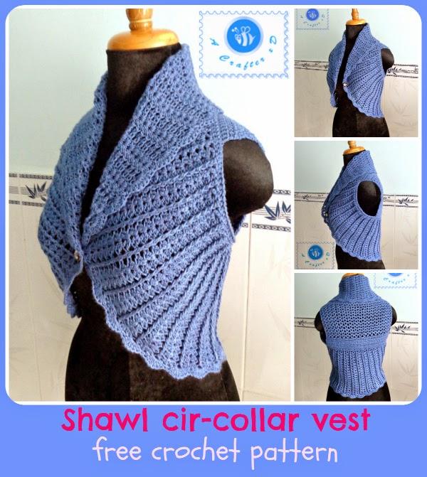 Be A Crafter xD: Shawl Cir-collar Vest - free crochet pattern
