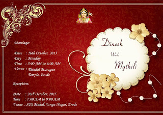 Dinesh Weds Mythili October 26