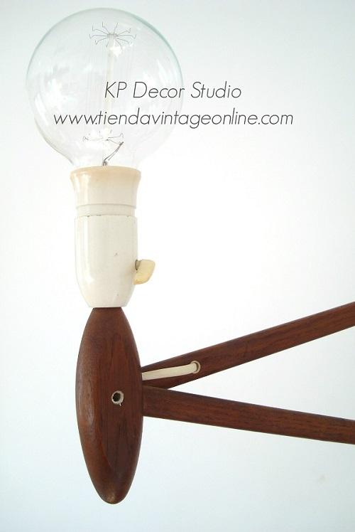 Comprar lámpara danesa extensible. aplique tijera vintage años 50 de madera de roble
