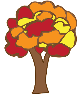 Fall block colored thanksgiving art tree in yellow, brown, red and orange