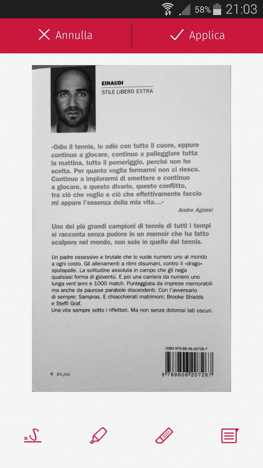 schermata di modifica del documento esclusiva per PRO PACK